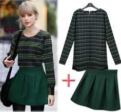 2014 New Women Fashion Long-sleeve Woolen Plaid Pullover T-shirt Bud Bust Set Casual Dresses Novelty Animal Printed dress $25.00