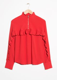 & Other Stories image 1 of Frill Zip Blouse in Red