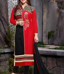 Buy Red and black embroidered glaze cotton unstitched salwar with dupatta dress-material online