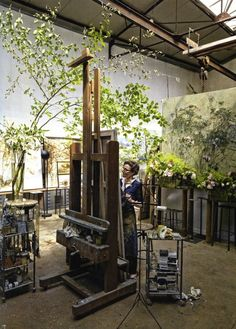 This is the studio of French artist Claire Basler. What a wonderful environment.