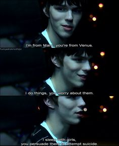 "Skins UK, Tony - ""I sleep with girls, you persuade them to attempt suicide. Tv Show Quotes, Movie Quotes, Nicholas Hoult Skins, Best Tv Shows, Movies And Tv Shows, Skins Uk Quotes, Skins Generation 1, Skin Aesthetics, My Heart Is Breaking"