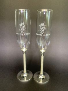 Personalize these beautiful flutes. Wedding, anniversary, special occasion toasting flutes Personalized Champagne Flutes, Personalized Wedding, Lenox Crystal, Toasting Flutes, Wedding Toasts, Pearl White, Wedding Accessories, Wedding Anniversary, Perfect Wedding