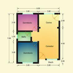 Planos de 2 Dormitorios – Constructora Sol del Plata Bungalows, My House Plans, Bar Chart, Floor Plans, How To Plan, Architecture, 30, Ideas, Home Made Simple