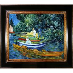 Vincent Van Gogh 'Rowing Boats on the Banks of the Oise' Hand Painted Framed Art