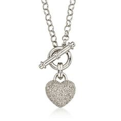 """.25 ct. t.w. Pave Diamond Heart Necklace in Sterling Silver. 18"""""""