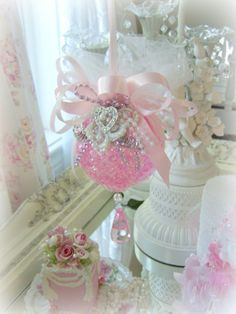 Pink Princess Victorian Rose pink tulle Chandelier Ornament Christmas Tree Trim Pearl White Shabby Chic Rose Bow SCT