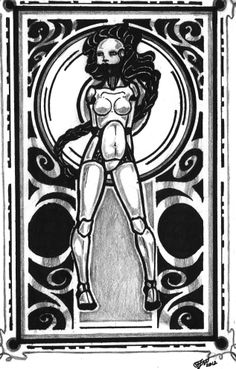 one of the very first pieces in the series, done in ink and pencil #art #nude #sci-fi #artNouveau sold