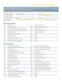 wedding check list | Wedding Photo Checklist - Our official wedding day photo checklist.