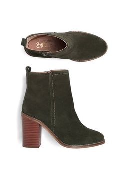 YUMMY...and I would totally break my rule for (no) high heels with these booties. I've been craving brown / beige / taupe booties, but this dark forest green is fabulous & a perfect neutral for my fall/winter wardrobe.