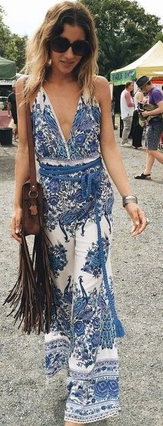Porcelain Print Plunge Boho Maxi dress                                                                             Source
