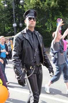 #BLUF #LeatherUniform on the street at Gay Pride.