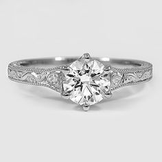 Platinum Hudson Ring // Set with a 0.75 Carat, Round, Super Ideal Cut, F Color, VVS2 Clarity Diamond #BrilliantEarth