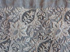Antique French handmade needle lace panel by MyFrenchAntiqueShop