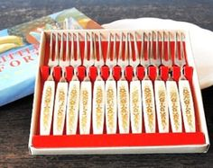 Mid Century Cocktail Forks, Atomic Gold