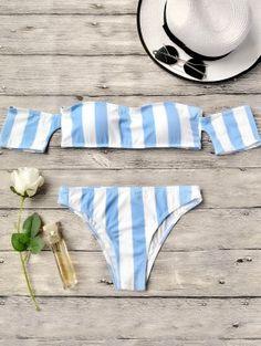 94ca4722cc179 Striped Off The Shoulder Bikini Set - Blue Bikini Tops