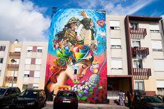 Street Art by Smile in Sacavém, Portugal! Contribution to O Bairro i o Mundo social project at Quinta do Mocho, Sacavém, Portugal.