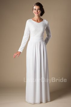 Modest bride, temple dress, modest temple dress, chiffon skirt, lace bodice, white temple dress.