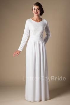 Modest bride, temple dress, modest temple dress, chiffon skirt, lace bodice, white temple dress.