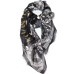"""Balmain """"Couronne"""" scarf - Cozy and stylish autumn scarf from Balmain with crown pattern. Color: Black gray"""