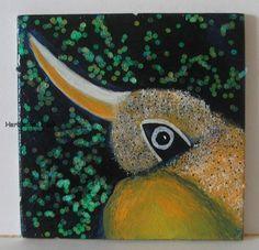 KRUMMSCHNABEL von Herbivore11 Unikat Vogel Minibild kleine Kunst sammeln Inchie