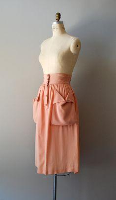 1940s skirt / rayon 40s skirt / Summer Melon skirt by DearGolden