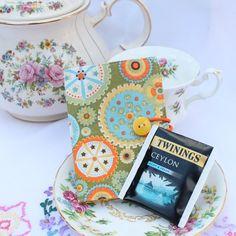 Tea wallet teabag holder  'Wheels Keep Turning'  by BeadedGardenUK, £5.75