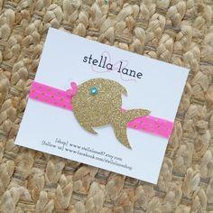Kissy Goldfish Glitter Sparkle Headband  baby girl by StellaLane87
