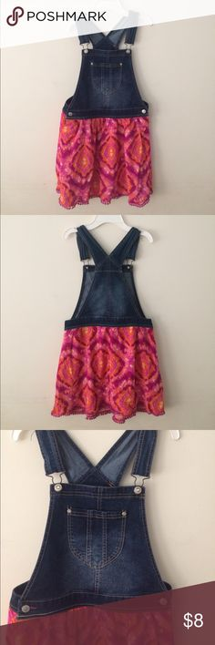 JORDACHE Overall Jean dress Blue jean top half w/adjustable straps, side buttons. Bottom Tye dyed print skirt with detail along bottom of skirt. See last pic. Good used condition. Size 14-16 JORDACHE Dresses Casual