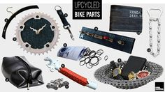 1. Hangers Made From Bike Wheel Rims – $25    2. Bicycle Clock – $36    3. Recycled Inner Tube Toiletry Kit – $33    4. Hipster Upcycled Bike Tube Keychain – $10    5. Rubber Bands Made From Bicycle Tires – $6    6. Upcycled Bike Fork Bottle Opener – $25    7. Antique Style Bicycle Chain Cufflinks – $82    8. Bike Valve Key Rack – $32    9. Bike Chain Bowl – $72    10. Recycled Inner Tube Wallet – $36    11. Recycled Bicycle Chain Bottle Opener – $11