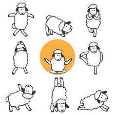 'Cute yoga sheeps namaste' by handcraftline Chiffon Shirt, Long Hoodie, Wood Print, Namaste, Laptop Sleeves, Decorative Throw Pillows, Classic T Shirts, Pouch, Canvas Prints