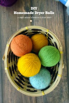 DIY Homemade Wool Dryer Balls. A natural dryer sheet alternative!