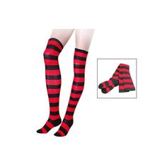 Lady Black Red Bar Stripe Knee High Socks Stockings Pair ❤ liked on Polyvore featuring intimates, hosiery, socks, knee socks, striped socks, red stripe socks, striped knee socks and red socks