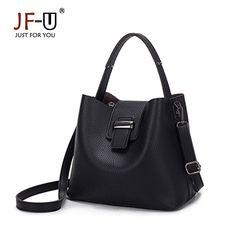 c960b52c48c3 JF-U Fashion Brand Women Casual Tote Bags PU Leather Shoulder Handbags  Women Bucket Bags