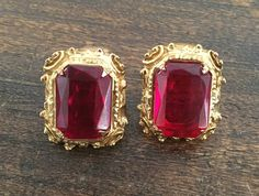Ruby Red Glass Earrings Vintage Jewelry, Victorian Revival, Mother's Day SPRING SALE