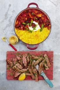 Jamie Oliver Steak, Ratatouille and saffron rice. Keen to try this ratatouille recipe Jamie's 15 Minute Meals, 15 Min Meals, Quick Meals, Beef Recipes, Cooking Recipes, Healthy Recipes, Beef Meals, Beef Welington, Sirloin Recipes