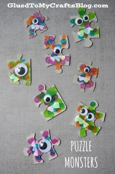 Puzzle Piece Monsters - Kid Craft http://gluedtomycraftsblog.com/2015/09/puzzle-piece-monsters-kid-craft.html?utm_content=buffer5f95d&utm_medium=social&utm_source=pinterest.com&utm_campaign=buffer via Glued To My Crafts