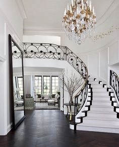 Top 80 Best Foyer Ideas - Unique Home Entryway Designs Foyer Decorating, Decorating Your Home, Interior Decorating, Decorating Ideas, Traditional Staircase, Entry Way Design, Chandelier, Staircase Design, Dream Houses