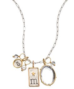 Heather Moore ID Tag Initial Combo Pendant Necklace