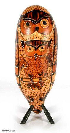 Mate gourd sculpture, 'Wise Owl Desk Friend' by NOVICA