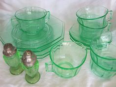 15Pc 1930s Green Depression Glass by featherinthenest on Etsy, $70.00