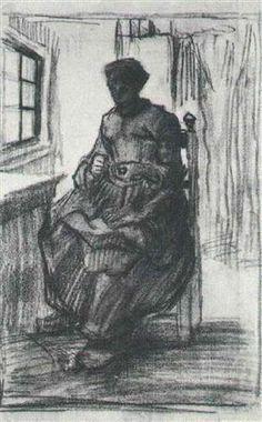 Interior with Peasant Woman Sewing - Vincent van Gogh