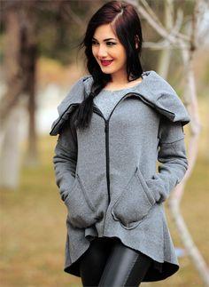 Bayan Ceket Geniş Yaka 2383 Füme | Modelleri ve Uygun Fiyat Avantajıyla | Modabenle