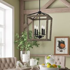 Birch Lane™ Heritage 4 - Light Lantern Geometric Chandelier Size: H x W x D Lantern Chandelier, Rectangle Chandelier, Lantern Pendant, Chandelier Lighting, Empire Chandelier, Lantern Light Fixture, Cool Light Fixtures, Dining Light Fixtures, Lantern Lighting