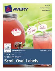 Avery® Textured White Scroll Oval Label 80501, Packaging Image