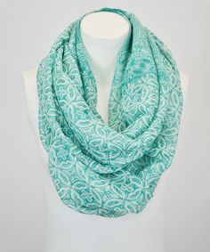 Loving this Teal Arabesque Infinity Scarf on #zulily! #zulilyfinds