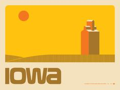 Aaron Draplins Iowa poster at Domestica via OMG Posters!