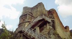 Poenari Castle located in Arefu, Romania has mortar work from the 13th century.  to reach the ruins start climbing the 1000 steps