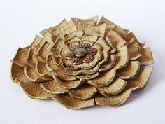 Mustard leather floral brooch Bohemian leather jewelry by SKMODELL, $17.00