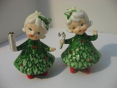 Vintage Lefton Holly Girls Christmas Figurines