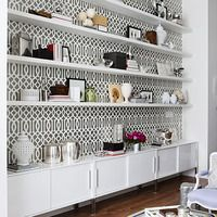 Trellis paper and ikea storage - looks pretty! just not sure where to use it or what!